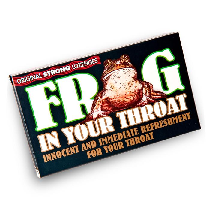 Rana en tus pastillas para la garganta